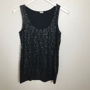 J Crew Drapey Black Sequin Tank Top Size Medium 22